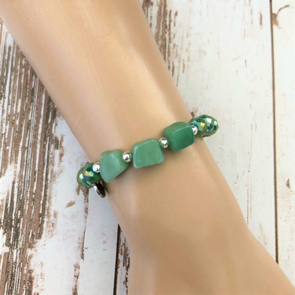 Green Adventurine and Crystal Beaded Bracelet