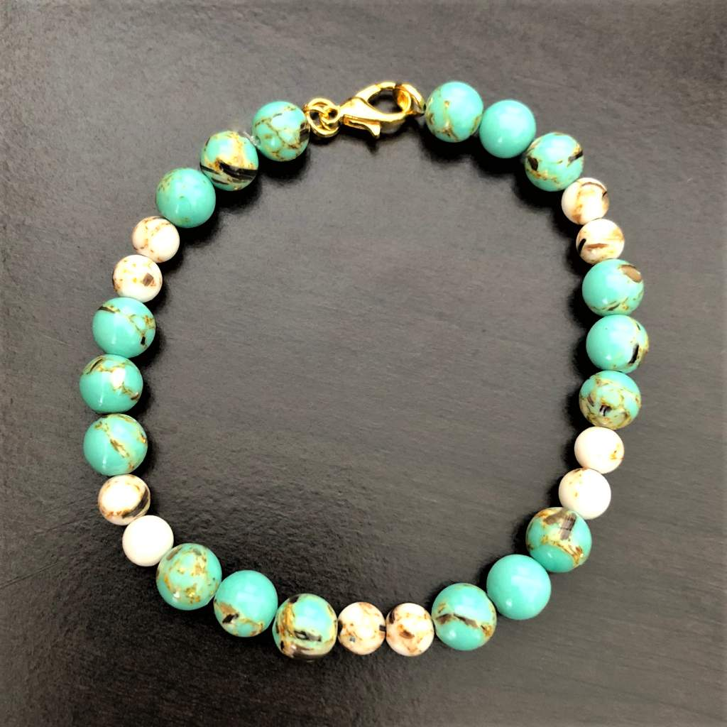 Sea Green and White Mosaic Shell Bracelet - JaeBee Jewelry