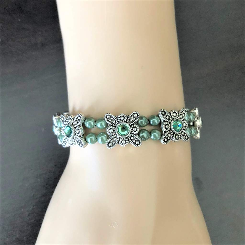 Silver Green Crystal Stretch Bracelet