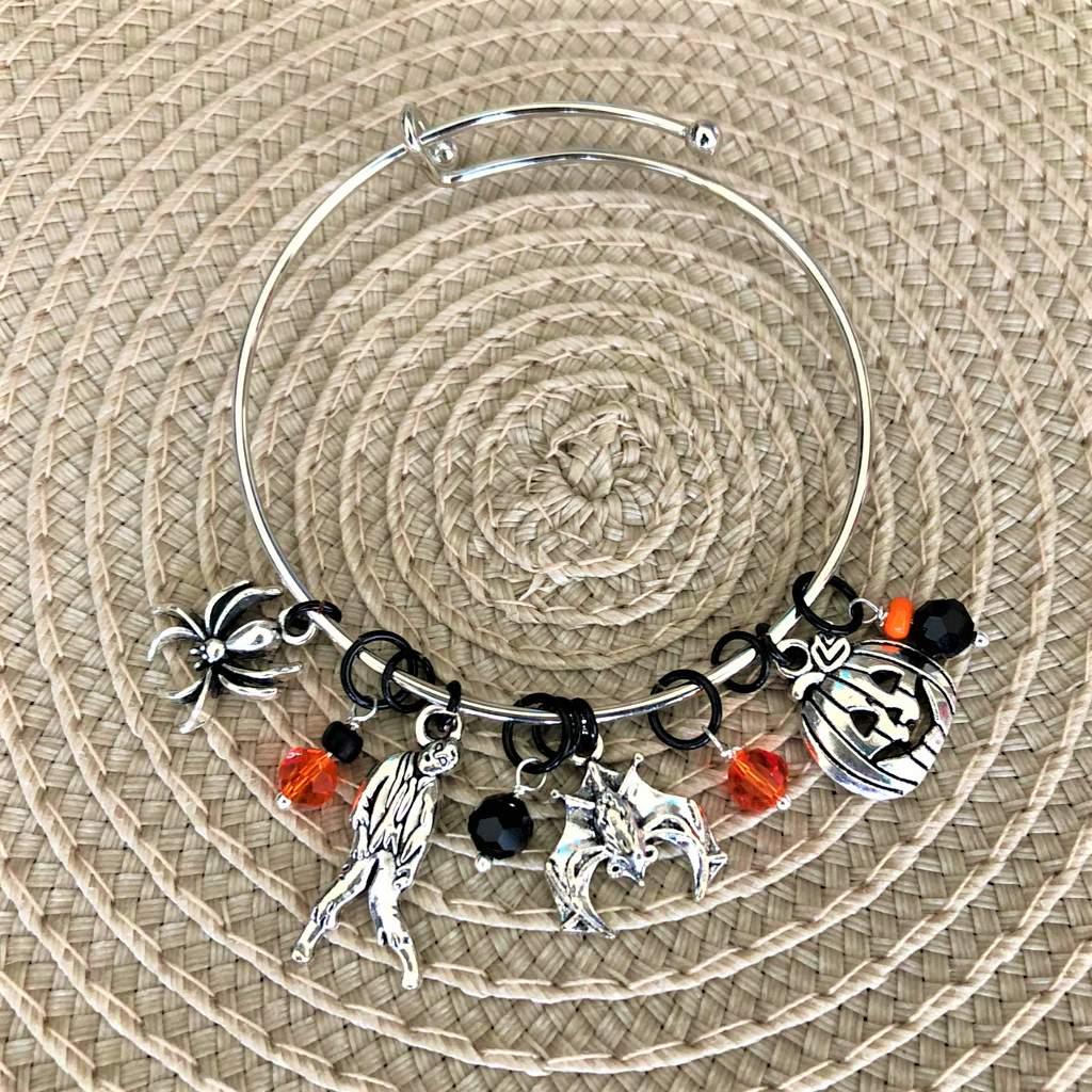 Halloween Bat, Zombie, Spider, and Pumpkin Silver Bracelet