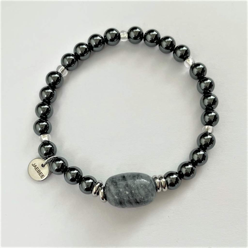 Hematite and Gray Marble Beaded Bracelet
