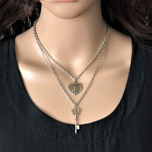 Silver Key and Heart Layered Necklace - JaeBee Jewelry