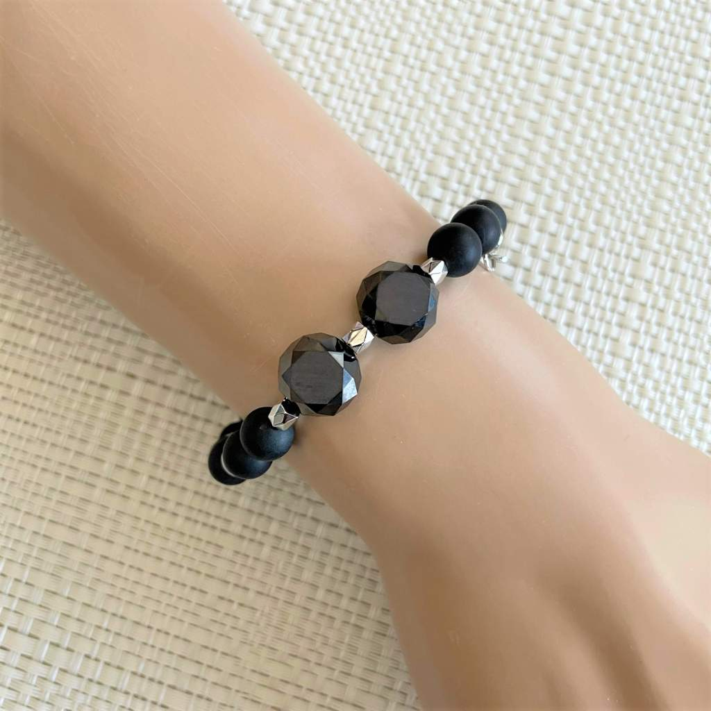 Matte Black Onyx Large and Small Beaded Bracelet