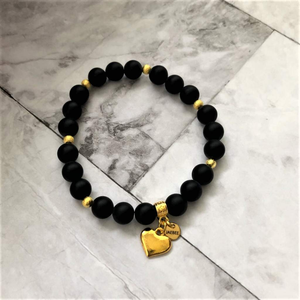 Black Onyx Matte and Gold Heart Beaded Bracelet