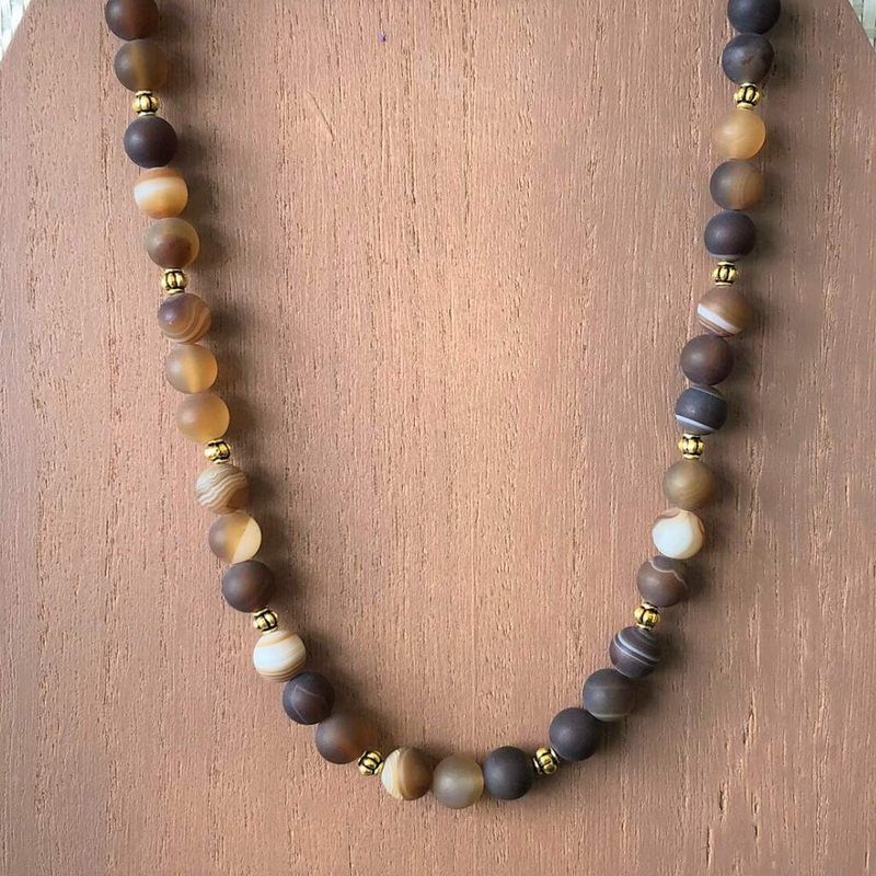 Brown Matte Agate and Gold Beaded Mens Necklace - JaeBee Jewelry