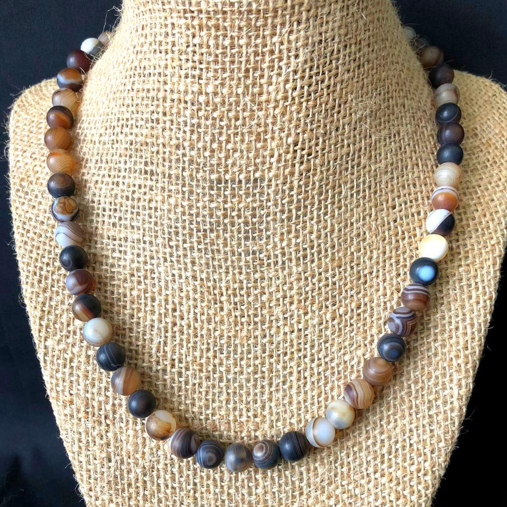 Matte Brown Agate Mens Beaded Necklace - JaeBee Jewelry