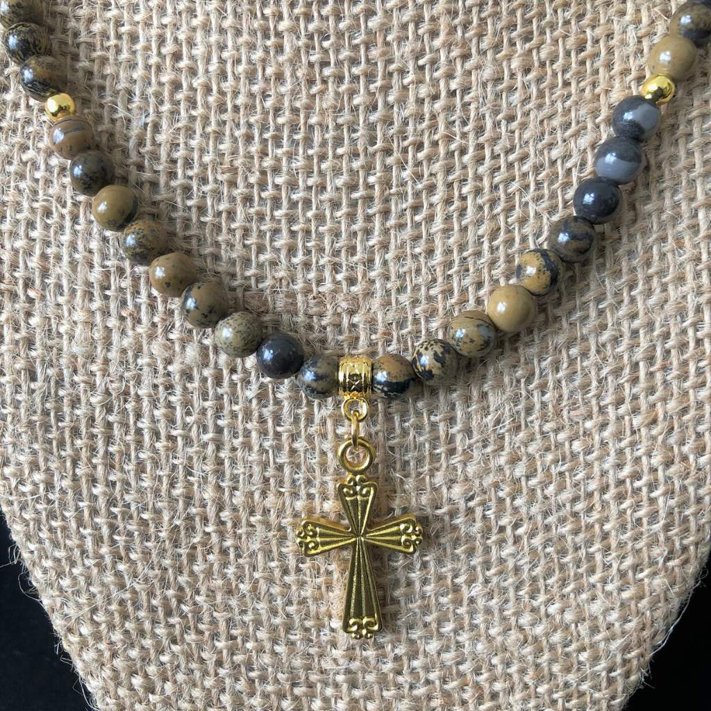 Artistic Stone Mens Gold Cross and Beaded Necklace - JaeBee Jewelry