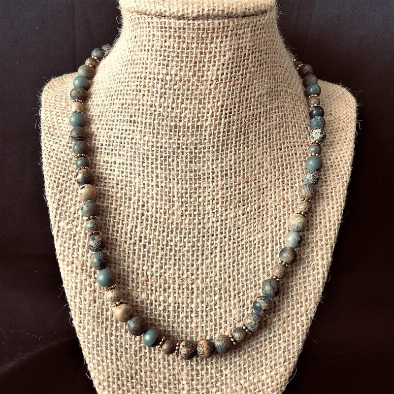 Artistic Stone Mens Beaded Brown Black and Gray Necklace - JaeBee Jewelry