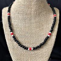Mens Black Red and White Wood Beaded Necklace - JaeBee Jewelry