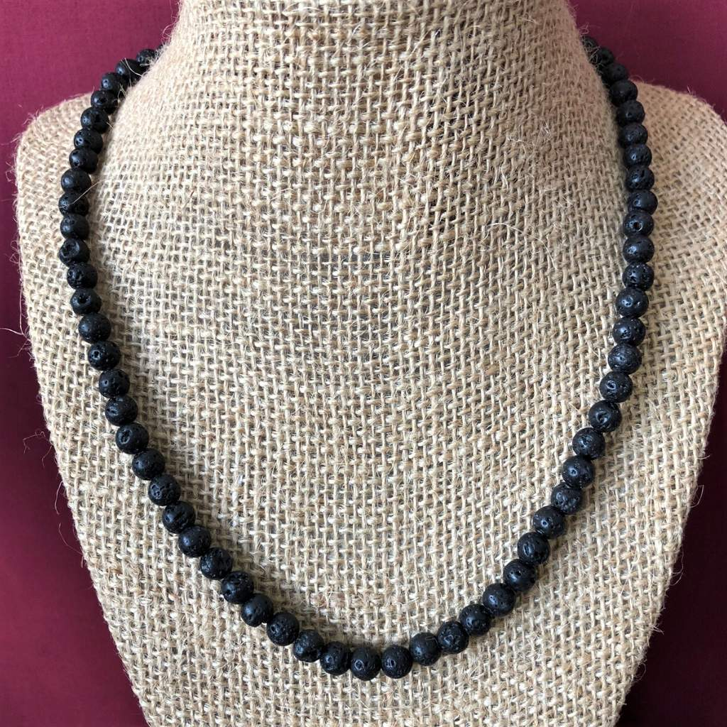 Mens Black Lava 6mm Beaded Necklace - JaeBee Jewelry