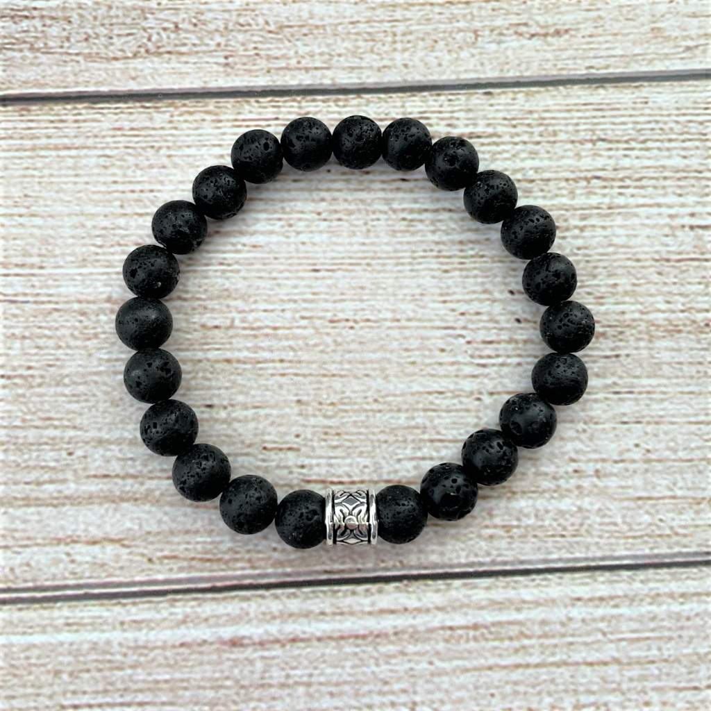 Black Lava Beaded Mens Bracelet with Silver Bead