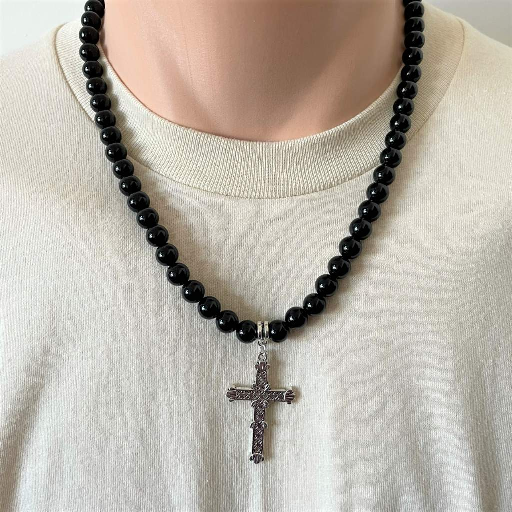 Mens Black Onyx and Large Silver Cross Beaded Necklace