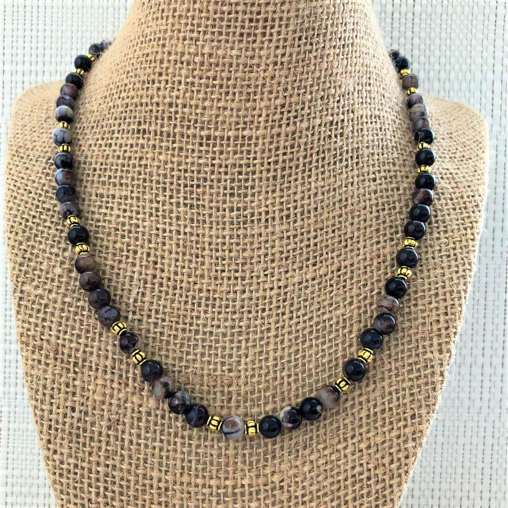 Espresso Agate Brown Mens Beaded Necklace - JaeBee Jewelry
