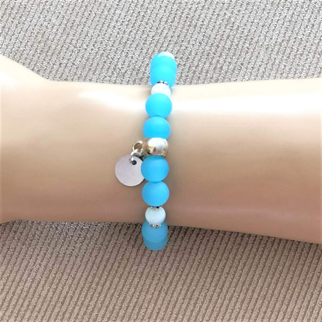 Blue Opaque Glass Stretch Bracelet with Silver Disc - JaeBee Jewelry