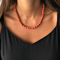 Coral Mosaic Shell and Gold Beaded Necklace