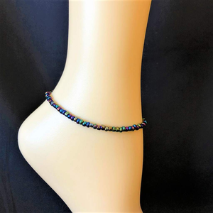 Peacock Iridescent Seed Bead Anklet - JaeBee Jewelry
