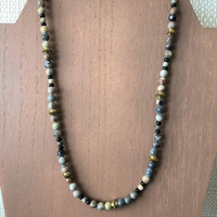 Mens Picasso Stone and Gold Beaded Necklace - JaeBee Jewelry