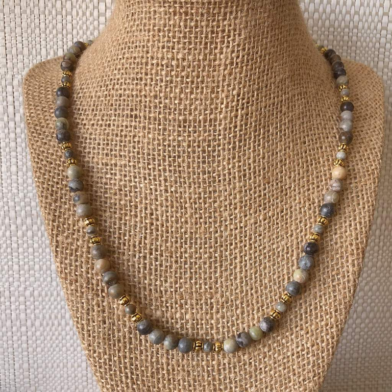 Mens Picasso and Gold Beaded Necklace - JaeBee Jewelry