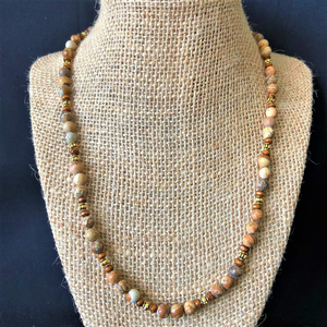 Matte Picture Jasper Beaded Necklace - JaeBee Jewelry