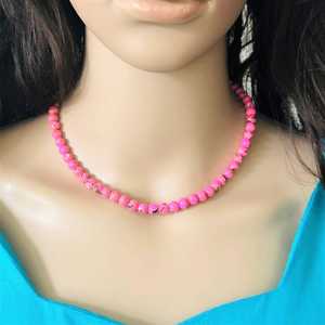 Pink Mosaic Beaded Necklace - JaeBee Jewelry