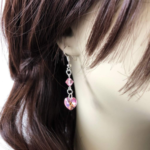 Pink Swarovski Heart Dangle Earrings - JaeBee Jewelry