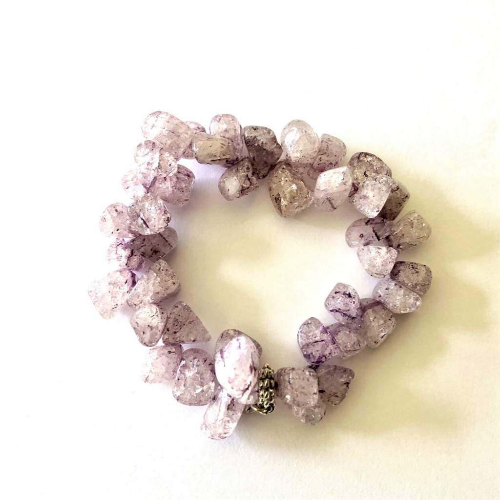 Purple Crackle Quartz Beaded Bracelet