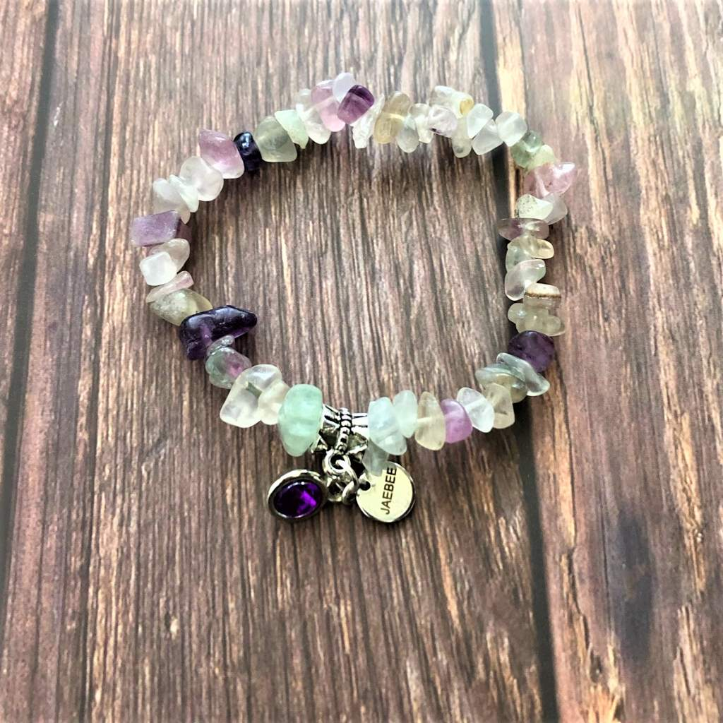Rainbow Fluorite Chip Beaded Bracelet