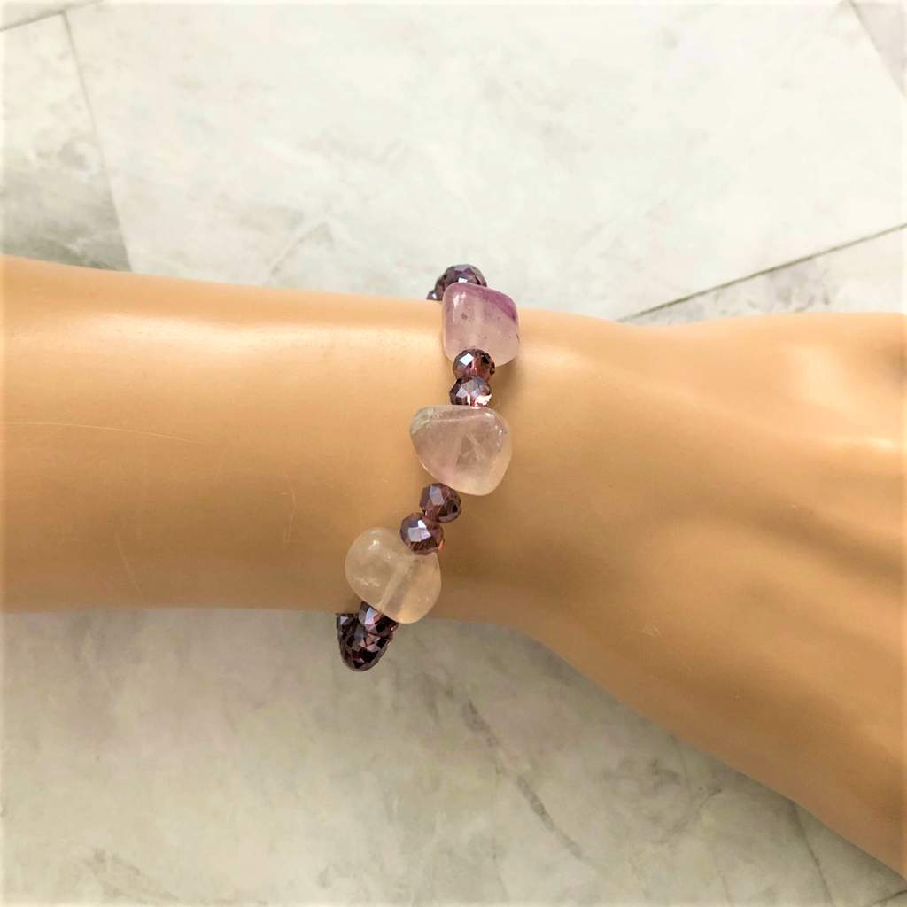 Rainow Fluorite Stones and Purple Crystal Bracelet
