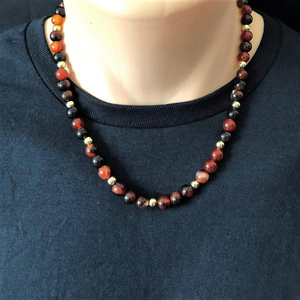 Red Agate Mens Beaded Necklace