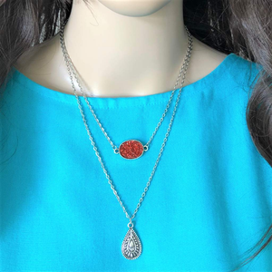 Red Druzy and Silver Charm Layered Necklace