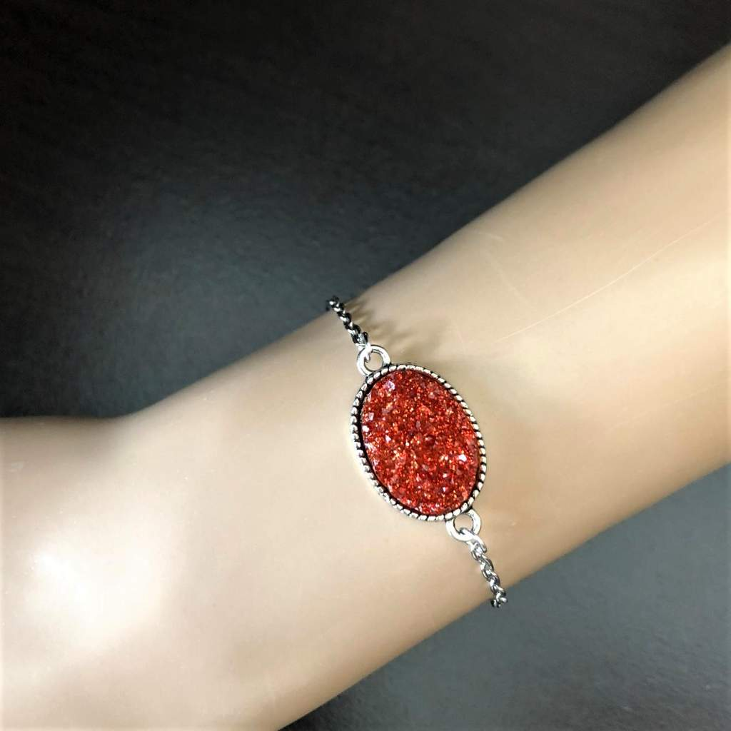 Red Druzy Oval Stone Chain Adjustable Bracelet