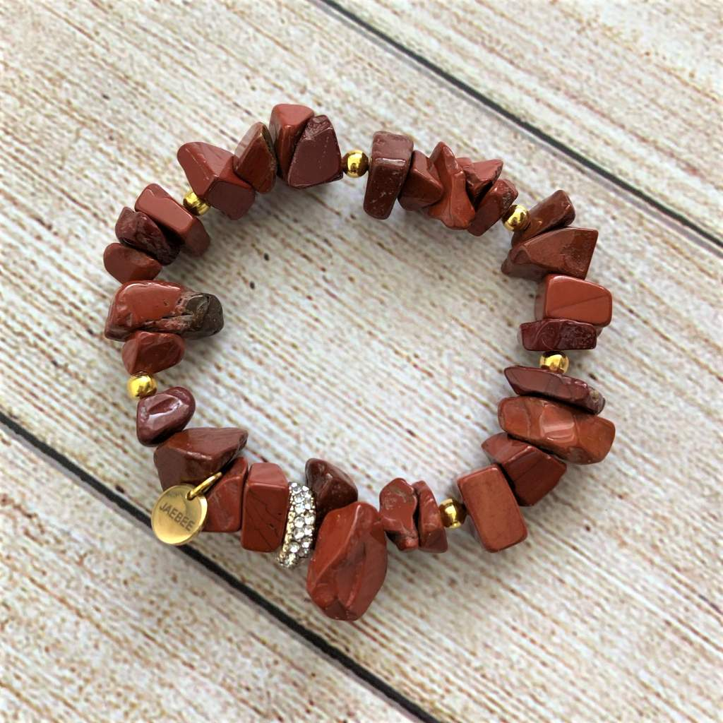 Red Jasper Chip and Gold Crystal Stretch Bracelet