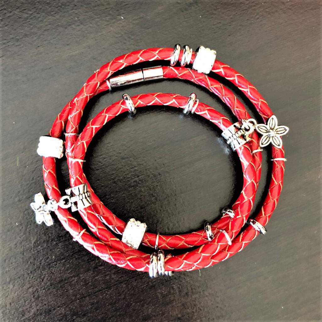 Red Leather Wrap Boho Bracelet - JaeBee Jewelry