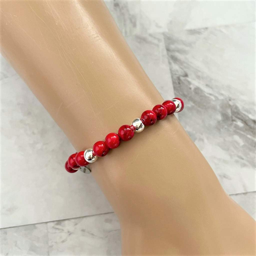 Red Mosaic and Silver Beaded Bracelet