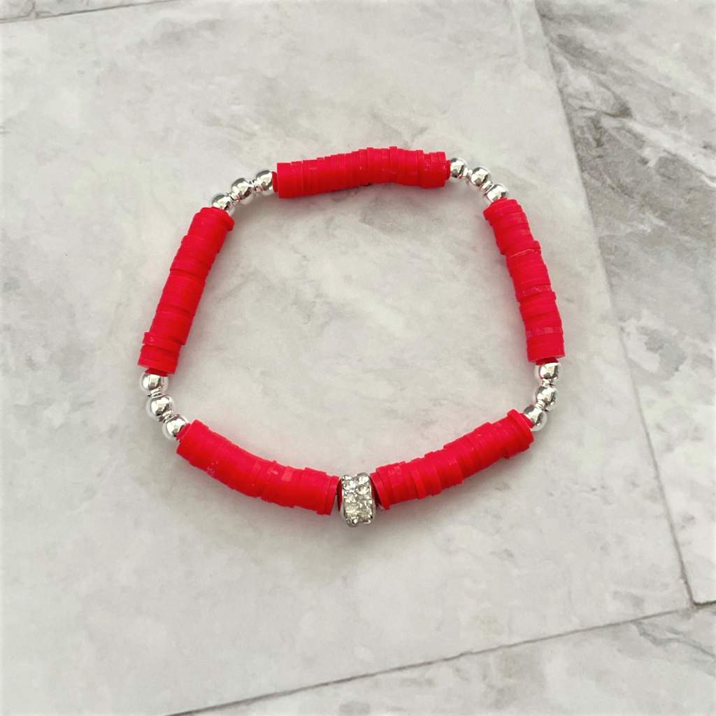 Red Polymer Clay and Silver Beaded Bracelet
