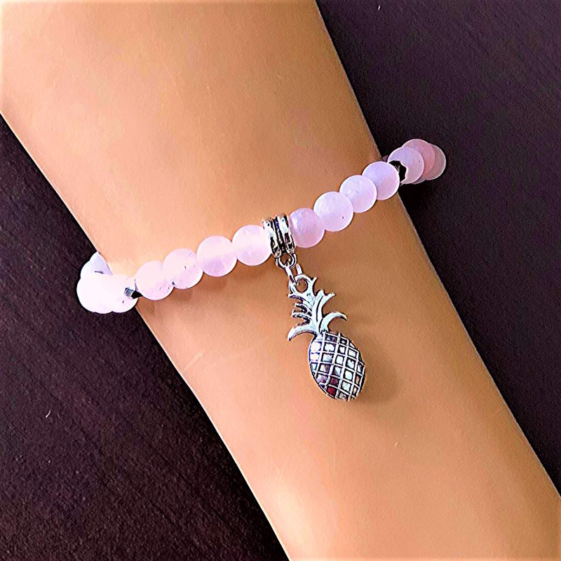 Matte Rose Quartz Beaded Bracelet and Silver Pineapple Charm - JaeBee Jewelry