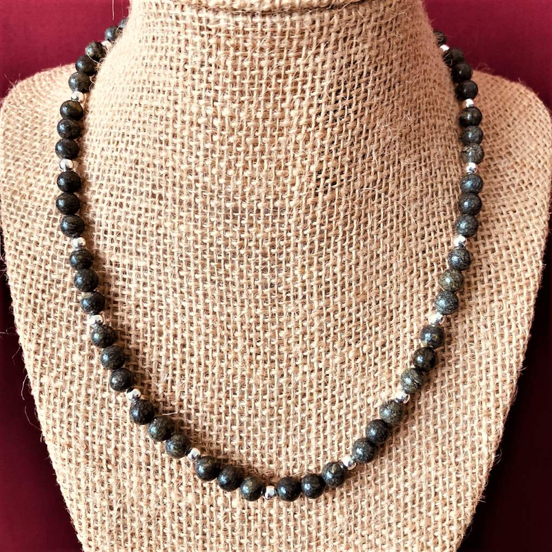 Russian Serpentine and Silver Beaded Mens Necklace - JaeBee Jewelry
