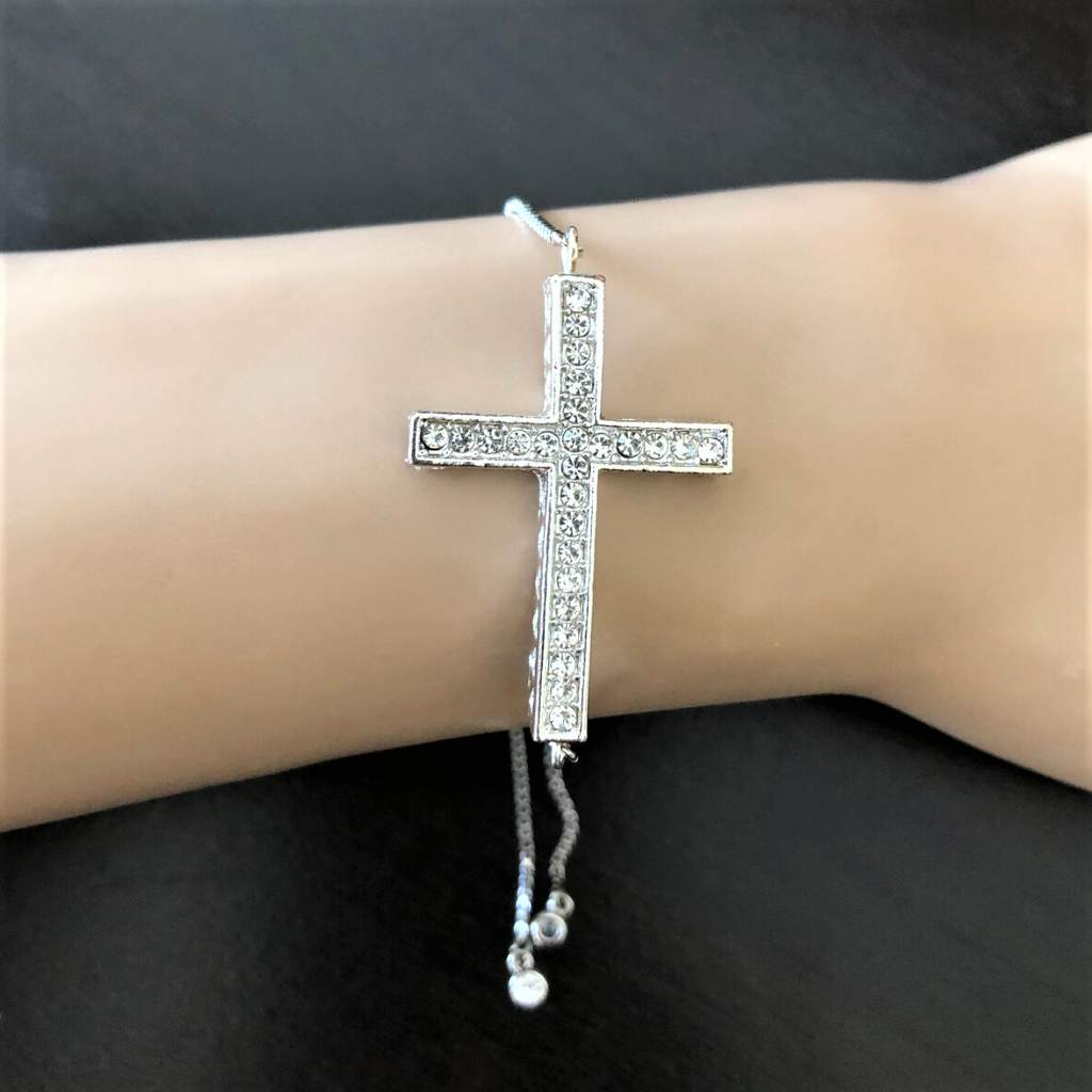 Silver Crystal Cross Adjustable Bracelet - JaeBee Jewelry