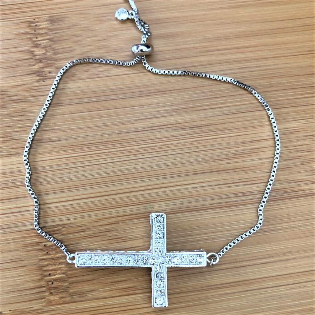Black and Silver Cross Stack Bracelet Set