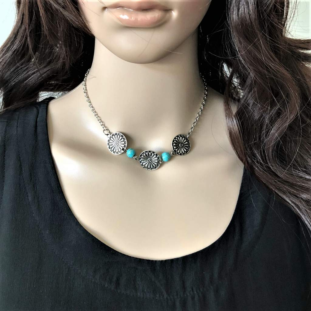 Silver Flower Disc and Turquoise Necklace - JaeBee