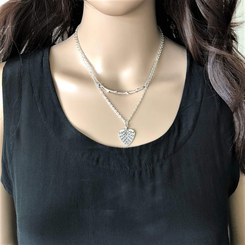 Silver Layered Branch and Heart Leaf Necklace - JaeBee Jewelry