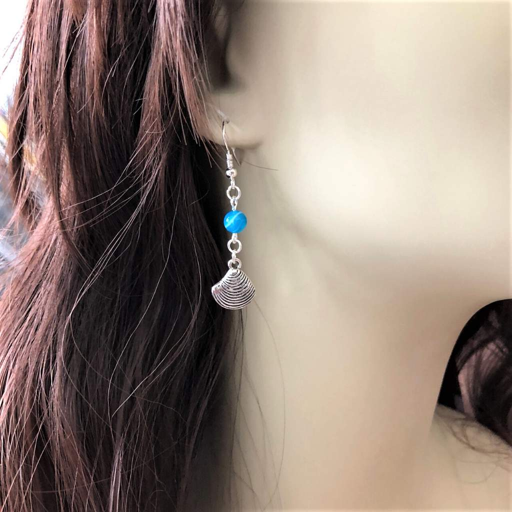 Silver Sea Shell and Blue Agate Bead Earrings - JaeBee Jewelry