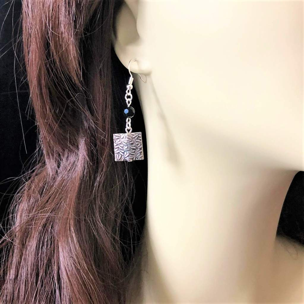 Silver Square and Black Swarovski Crystal Drop Earrings