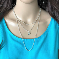 Triple Layered Silver Disc and V Shaped Charm Necklace