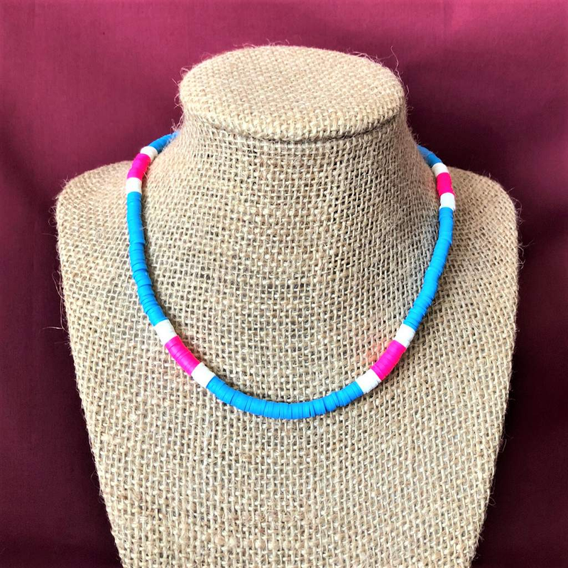 Sky Blue Pink and White Polymer Beaded Necklace