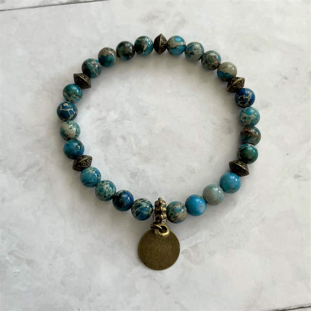 Teal Jasper and Brass Beaded Bracelet