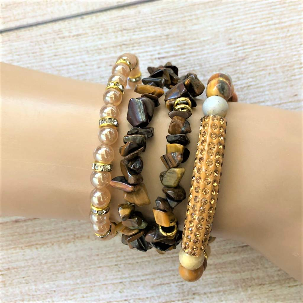 Tigers Eye Chip Bracelet Set