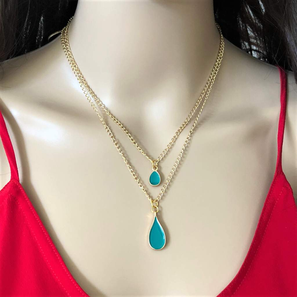 Colorful Enamel Teardrop Layered Gold Chain Necklace - JaeBee Jewelry
