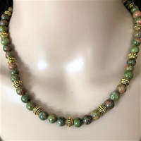 Unakite Green and Pink Beaded Necklace - JaeBee Jewelry