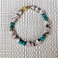 White and Sea Green Mosaic Shell Bracelet - JaeBee Jewelry